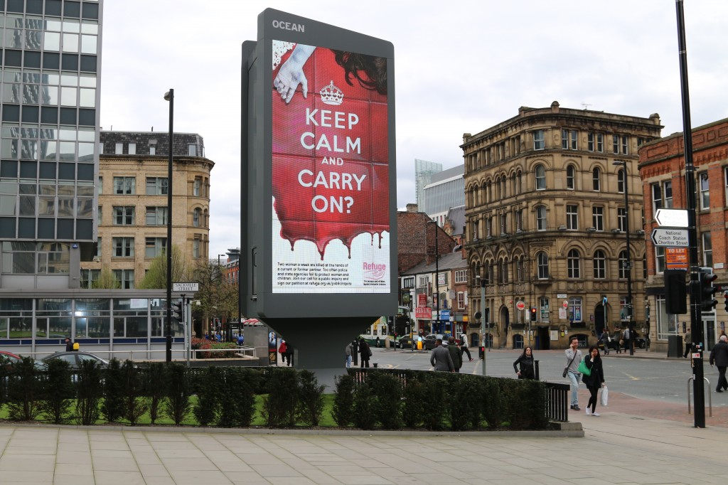 Keep Calm and Carry On? Refuge ad in Manchester