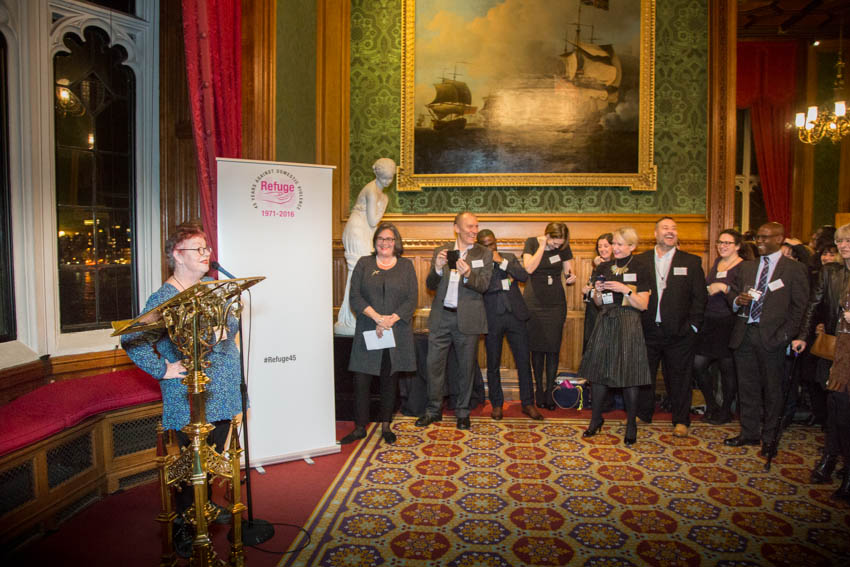 Jo Brand performs in the impressive surroundings of the House of Lords' River Room – and has Refuge's supporters in stitches.