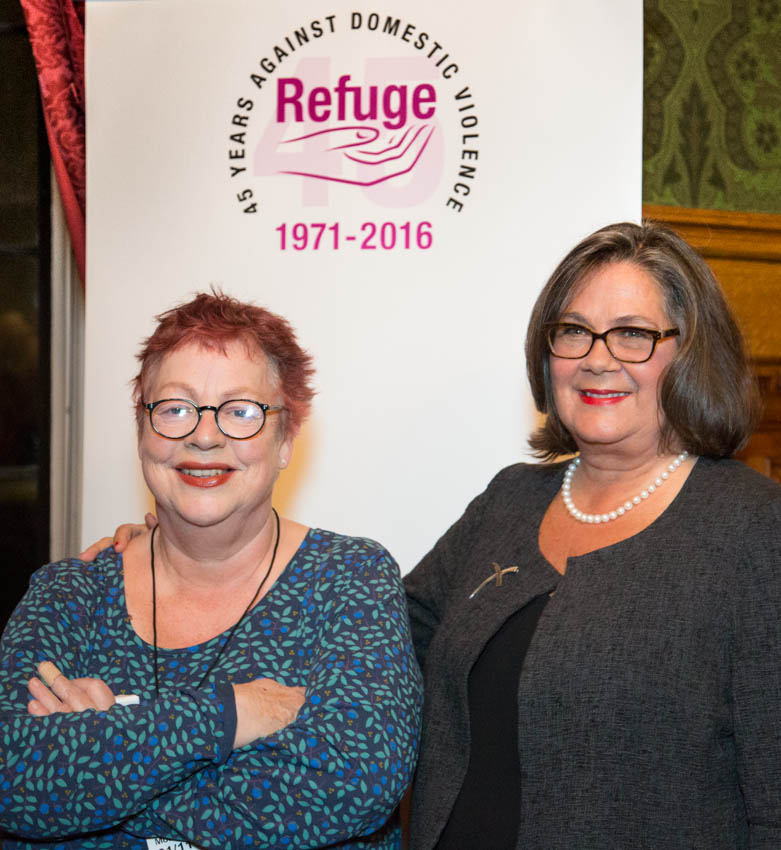 Comedian and Refuge patron Jo Brand joins Refuge chief executive Sandra Horley CBE to celebrate 45 years of Refuge; the charity set up the world's first refuge for women escaping domestic violence in 1971.