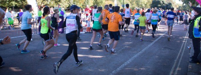A Refuge runner takes part in the Royal Parks half marathon