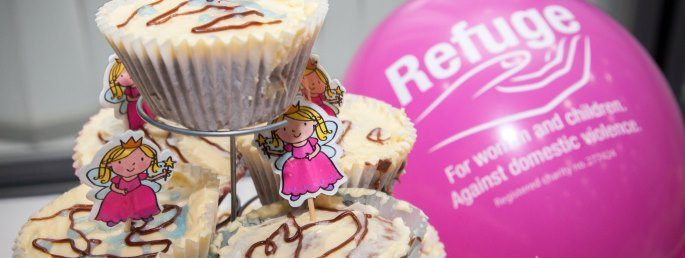 Delicious cupcakes and a Refuge pink balloon