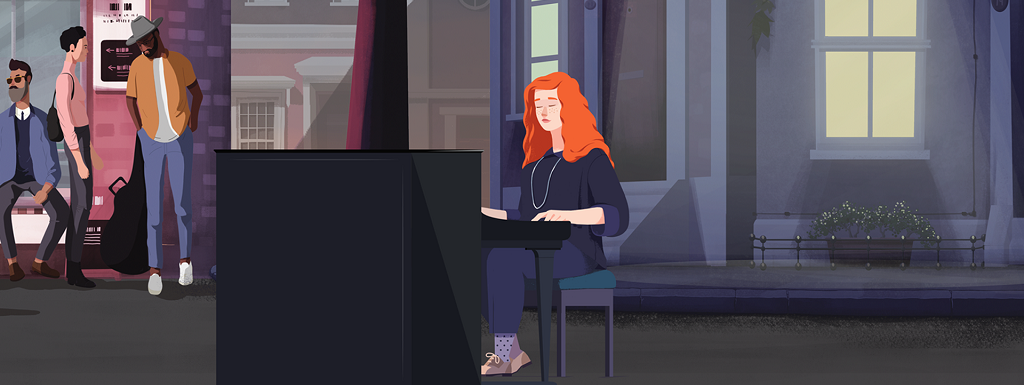 Animated woman playing piano