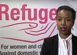 Melanie in front of Refuge logo - Reuters film 180 x 250