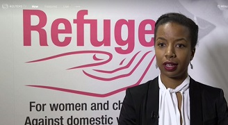 Melanie in front of Refuge logo - Reuters film 180 x 328