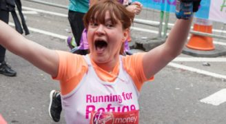 A female Refuge participant at the London Marathon 2016.