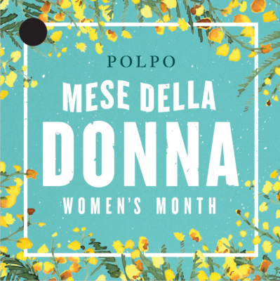 A graphic with a floral pattern, with the text Mese Della Donna Women's Month