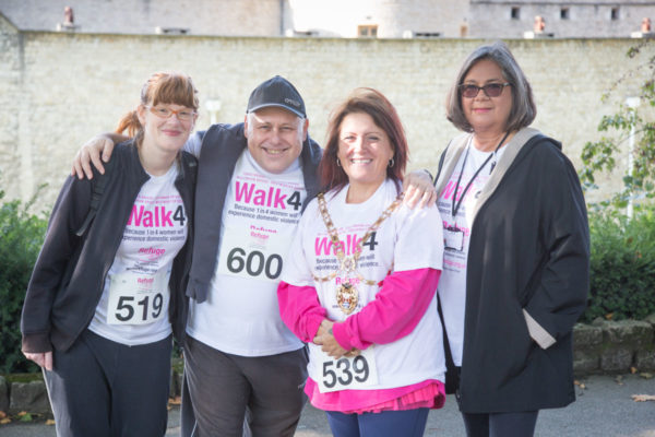 The former Mayor of Hounslow Sue Sampson with Refuge Chief Executive Sandra Horley CBE and other Walk4 participants