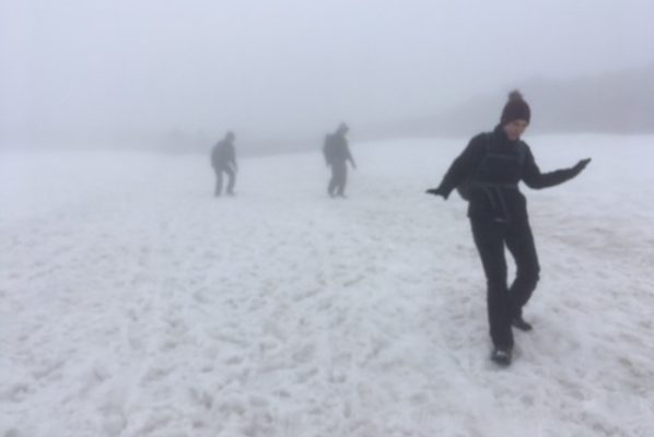Three people walking on Ben Nevis