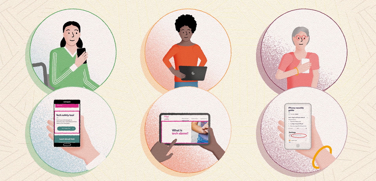 Illustration of three women using tech safely and happily