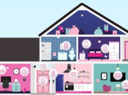Graphic illustration of home where you can see into each room